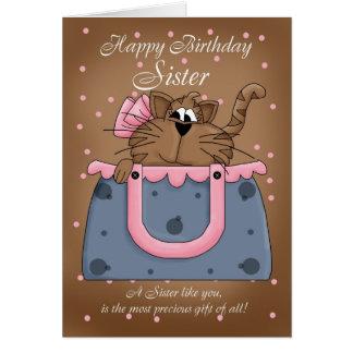 Tarjeta de cumpleaños de la hermana - mascota lind