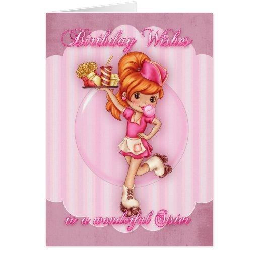 tarjeta de cumpleaños de la hermana - rosa lindo d