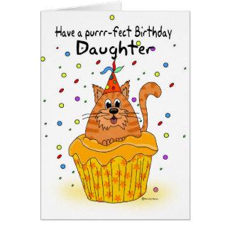 tarjeta de cumpleaños de la hija con el gato de la