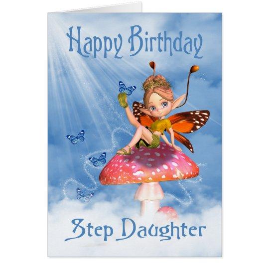 Tarjeta de cumpleaños de la hija del paso - hada