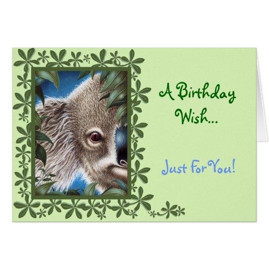 Tarjeta de cumpleaños de la koala de los objetos