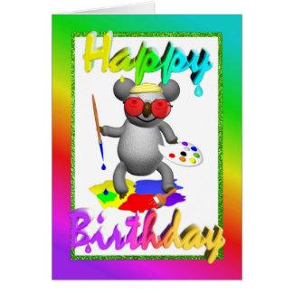 Tarjeta de cumpleaños de la koala del artista