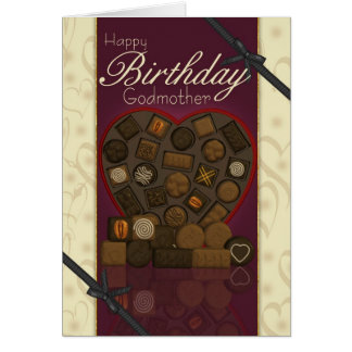 Tarjeta de cumpleaños de la madrina - chocolates