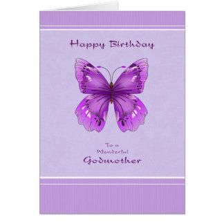 Tarjeta de cumpleaños de la madrina - mariposa púr