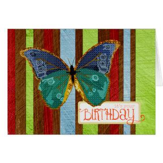 Tarjeta de cumpleaños de la mariposa de Boho