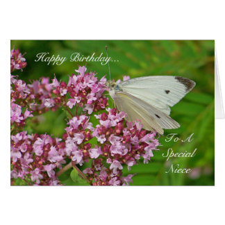 Tarjeta de cumpleaños de la mariposa para una