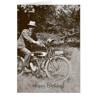 Tarjeta de cumpleaños de la motocicleta del
