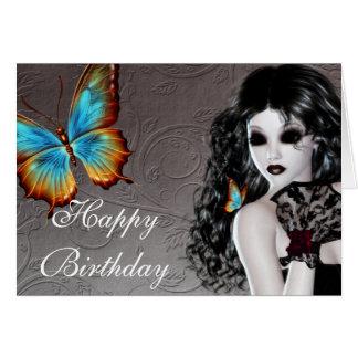 Tarjeta de cumpleaños de la mujer del gótico de la