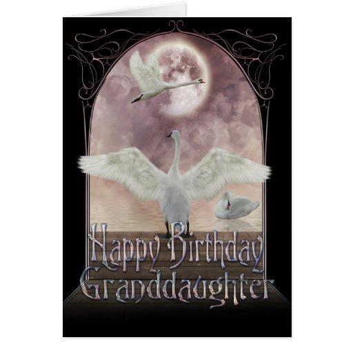 Tarjeta de cumpleaños de la nieta - cisnes