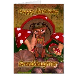 Tarjeta de cumpleaños de la nieta con el duende mo