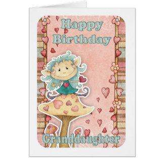 tarjeta de cumpleaños de la nieta con el pequeño d