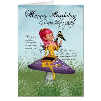 Tarjeta de cumpleaños de la nieta con la hada y Ch