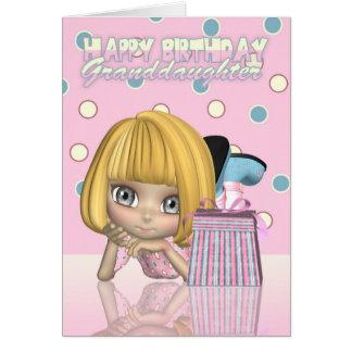 Tarjeta de cumpleaños de la nieta con la niña lind