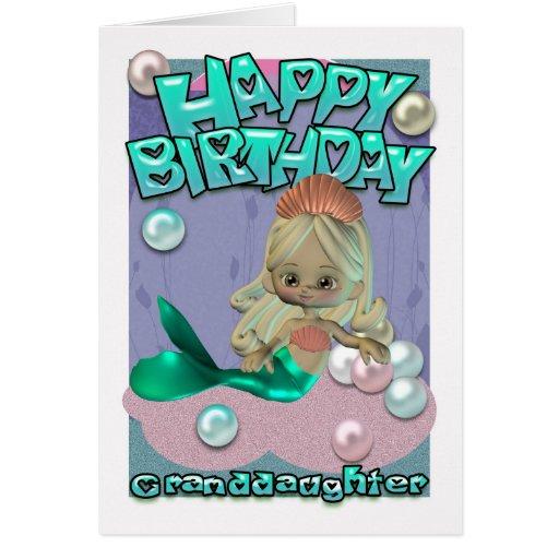 Tarjeta de cumpleaños de la nieta con la sirena