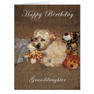 Tarjeta de cumpleaños de la nieta del perrito