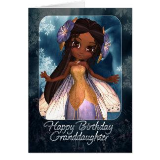 Tarjeta de cumpleaños de la nieta - hada azul lind