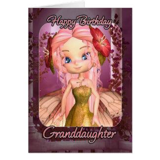 Tarjeta de cumpleaños de la nieta - hada rosada li