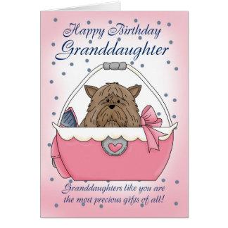 Tarjeta de cumpleaños de la nieta - mascota lindo