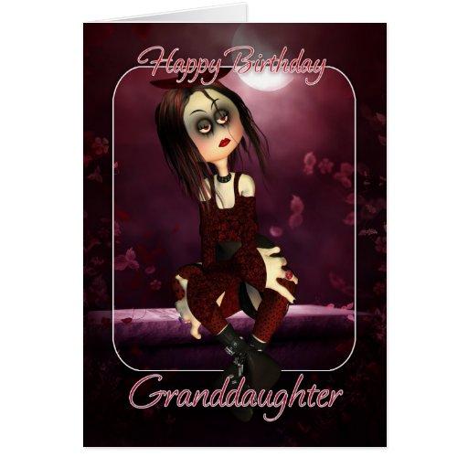 Tarjeta de cumpleaños de la nieta - muñeca de trap