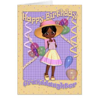 Tarjeta de cumpleaños de la nieta - niña linda