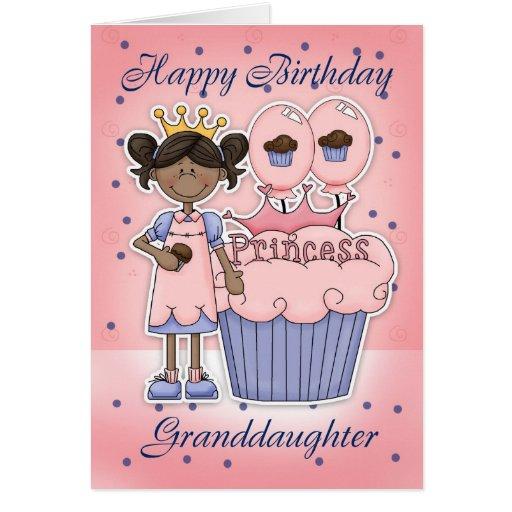 Tarjeta de cumpleaños de la nieta - princesa de la