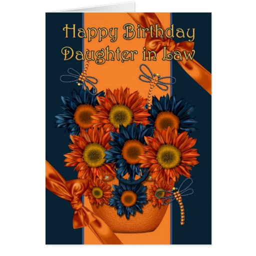 Tarjeta de cumpleaños de la nuera - girasol y fric