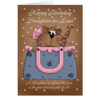 Tarjeta de cumpleaños de la nuera - mascota lindo