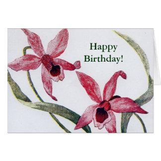 Tarjeta de cumpleaños de la orquídea de Edwardian
