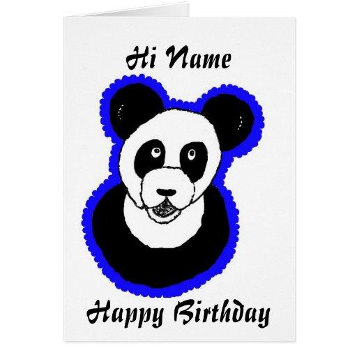 Tarjeta de cumpleaños de la panda