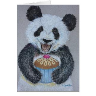 Tarjeta de cumpleaños de la panda de la magdalena