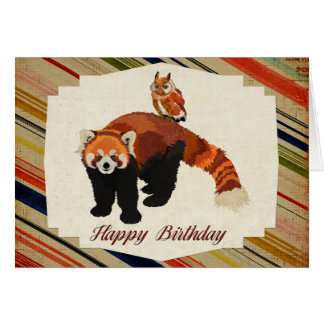 Tarjeta de cumpleaños de la panda roja y del búho