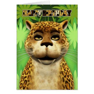 Tarjeta de cumpleaños de la selva del leopardo