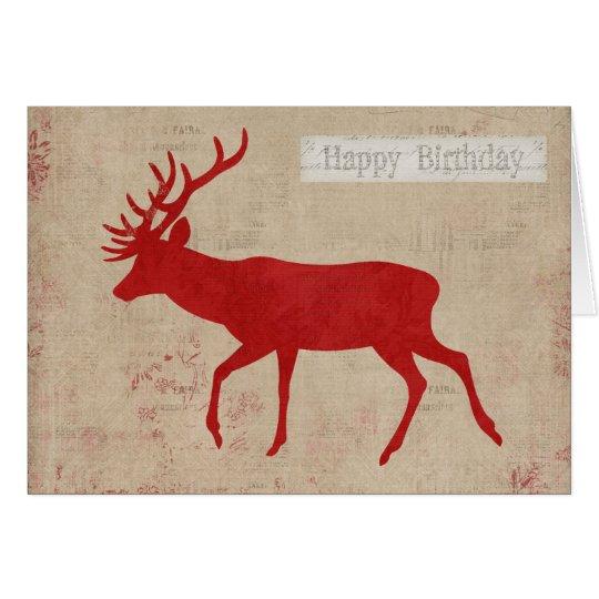 Tarjeta de cumpleaños de la silueta del ciervo