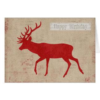 Tarjeta de cumpleaños de la silueta del ciervo com