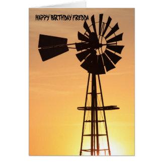 Tarjeta de cumpleaños de la silueta del molino de