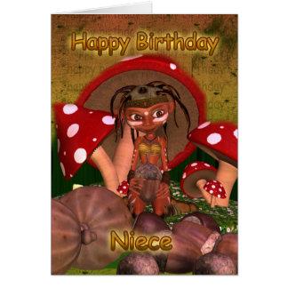 Tarjeta de cumpleaños de la sobrina con el duende