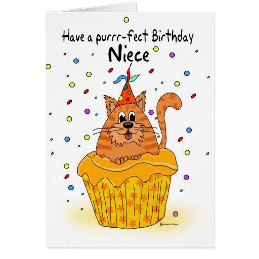 tarjeta de cumpleaños de la sobrina con el gato de