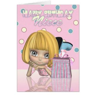 Tarjeta de cumpleaños de la sobrina con la niña y