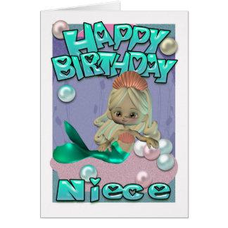 Tarjeta de cumpleaños de la sobrina con la sirena