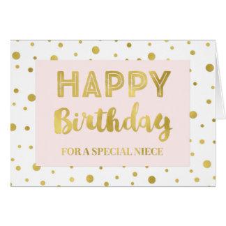 Tarjeta de cumpleaños de la sobrina del rosa del