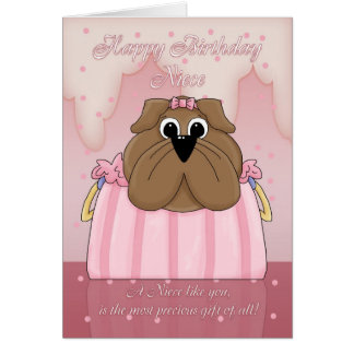 Tarjeta de cumpleaños de la sobrina - dogo lindo e