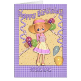 Tarjeta de cumpleaños de la sobrina - niña linda