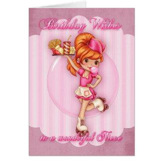 tarjeta de cumpleaños de la sobrina - rosa lindo d
