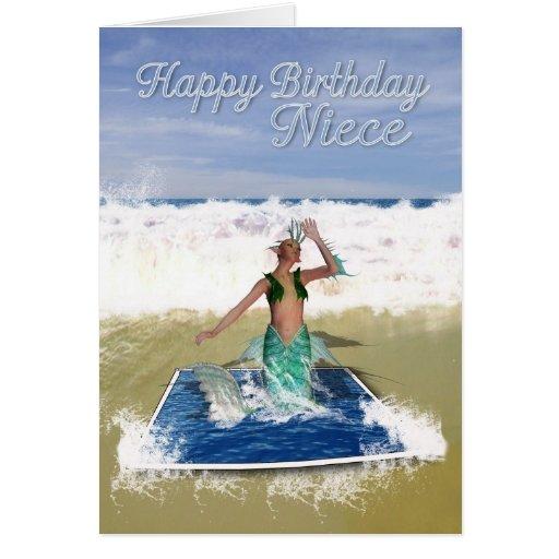 Tarjeta de cumpleaños de la sobrina - sirena del a