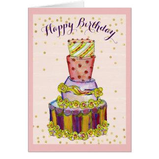 Tarjeta de cumpleaños de la torta de cumpleaños de