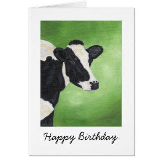 Tarjeta de cumpleaños de la vaca de Holstein