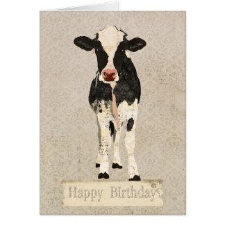 Tarjeta de cumpleaños de la vaca del ónix y de la