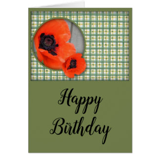 Tarjeta de cumpleaños de las amapolas orientales