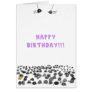 Tarjeta de cumpleaños de las arañas