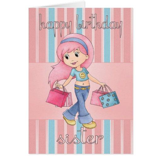 Tarjeta de cumpleaños de las compras de la hermana